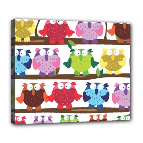 Funny Owls Sitting On A Branch Pattern Postcard Rainbow Deluxe Canvas 24  x 20
