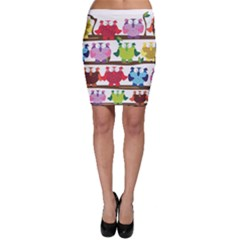 Funny Owls Sitting On A Branch Pattern Postcard Rainbow Bodycon Skirt