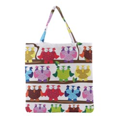 Funny Owls Sitting On A Branch Pattern Postcard Rainbow Grocery Tote Bag