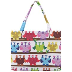 Funny Owls Sitting On A Branch Pattern Postcard Rainbow Mini Tote Bag