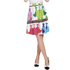 Funny Owls Sitting On A Branch Pattern Postcard Rainbow A-Line Skirt