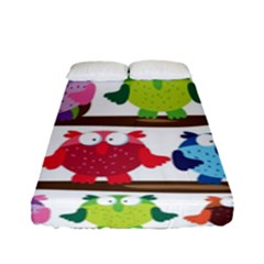 Funny Owls Sitting On A Branch Pattern Postcard Rainbow Fitted Sheet (full/ Double Size)
