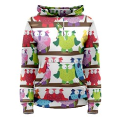 Funny Owls Sitting On A Branch Pattern Postcard Rainbow Women s Pullover Hoodie