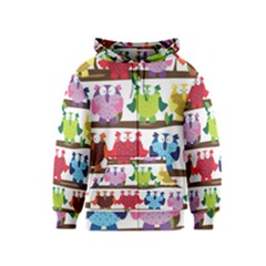 Funny Owls Sitting On A Branch Pattern Postcard Rainbow Kids  Zipper Hoodie