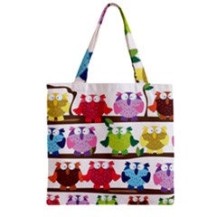 Funny Owls Sitting On A Branch Pattern Postcard Rainbow Zipper Grocery Tote Bag