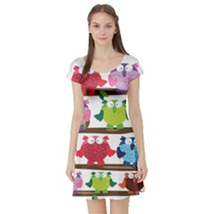Funny Owls Sitting On A Branch Pattern Postcard Rainbow Short Sleeve Skater Dress