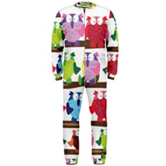 Funny Owls Sitting On A Branch Pattern Postcard Rainbow OnePiece Jumpsuit (Men)