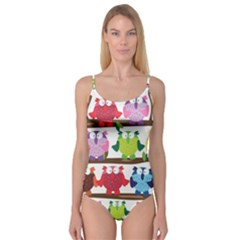 Funny Owls Sitting On A Branch Pattern Postcard Rainbow Camisole Leotard