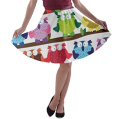 Funny Owls Sitting On A Branch Pattern Postcard Rainbow A-line Skater Skirt