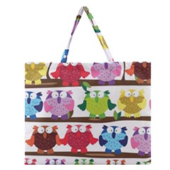 Funny Owls Sitting On A Branch Pattern Postcard Rainbow Zipper Large Tote Bag