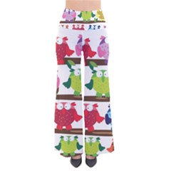 Funny Owls Sitting On A Branch Pattern Postcard Rainbow Pants