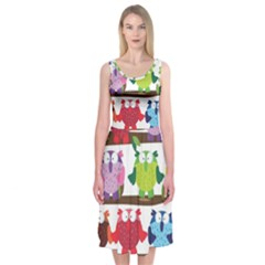 Funny Owls Sitting On A Branch Pattern Postcard Rainbow Midi Sleeveless Dress