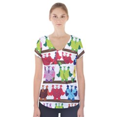 Funny Owls Sitting On A Branch Pattern Postcard Rainbow Short Sleeve Front Detail Top