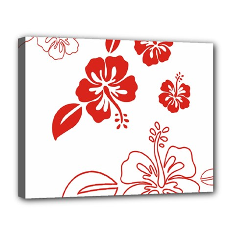 Hawaiian Flower Red Sunflower Canvas 14  x 11