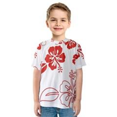 Hawaiian Flower Red Sunflower Kids  Sport Mesh Tee