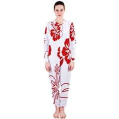 Hawaiian Flower Red Sunflower OnePiece Jumpsuit (Ladies)