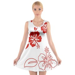 Hawaiian Flower Red Sunflower V-Neck Sleeveless Skater Dress