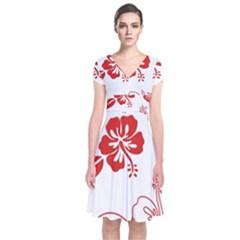Hawaiian Flower Red Sunflower Short Sleeve Front Wrap Dress