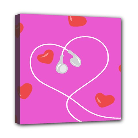 Heart Love Pink Red Mini Canvas 8  X 8