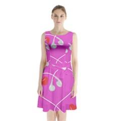 Heart Love Pink Red Sleeveless Waist Tie Chiffon Dress
