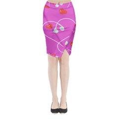 Heart Love Pink Red Midi Wrap Pencil Skirt