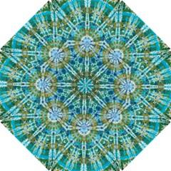 Green Flower Tie Dye Kaleidoscope Opaque Color Hook Handle Umbrellas (Small)