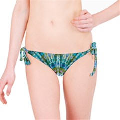 Green Flower Tie Dye Kaleidoscope Opaque Color Bikini Bottom