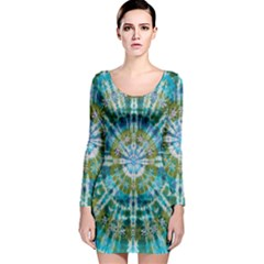 Green Flower Tie Dye Kaleidoscope Opaque Color Long Sleeve Bodycon Dress