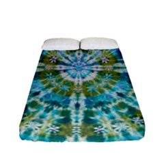 Green Flower Tie Dye Kaleidoscope Opaque Color Fitted Sheet (full/ Double Size)