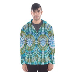 Green Flower Tie Dye Kaleidoscope Opaque Color Hooded Wind Breaker (Men)