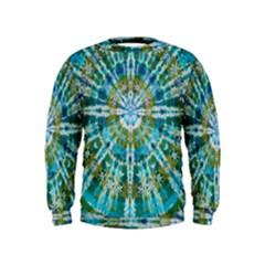 Green Flower Tie Dye Kaleidoscope Opaque Color Kids  Sweatshirt