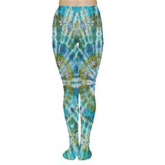 Green Flower Tie Dye Kaleidoscope Opaque Color Women s Tights