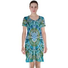 Green Flower Tie Dye Kaleidoscope Opaque Color Short Sleeve Nightdress