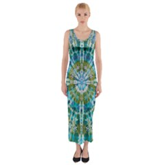 Green Flower Tie Dye Kaleidoscope Opaque Color Fitted Maxi Dress