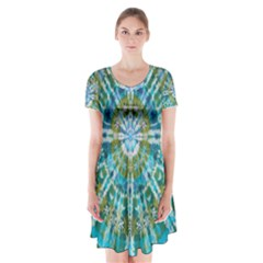 Green Flower Tie Dye Kaleidoscope Opaque Color Short Sleeve V-neck Flare Dress