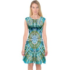 Green Flower Tie Dye Kaleidoscope Opaque Color Capsleeve Midi Dress