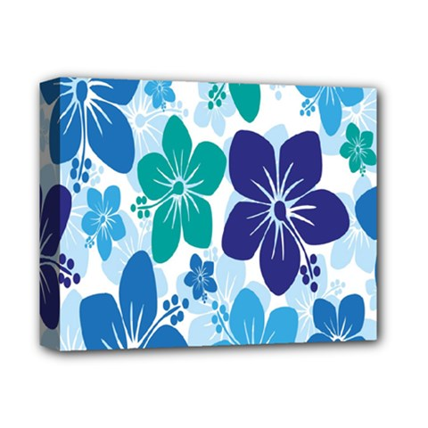 Hibiscus Flowers Green Blue White Hawaiian Deluxe Canvas 14  x 11
