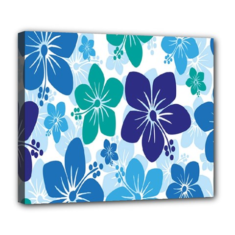 Hibiscus Flowers Green Blue White Hawaiian Deluxe Canvas 24  x 20