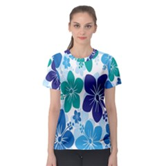Hibiscus Flowers Green Blue White Hawaiian Women s Sport Mesh Tee
