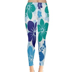 Hibiscus Flowers Green Blue White Hawaiian Classic Winter Leggings