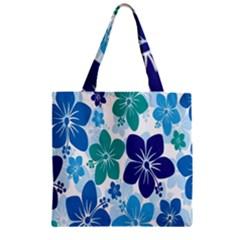 Hibiscus Flowers Green Blue White Hawaiian Zipper Grocery Tote Bag