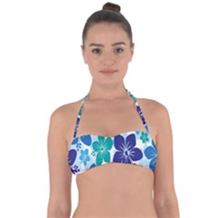 Hibiscus Flowers Green Blue White Hawaiian Halter Bandeau Bikini Top