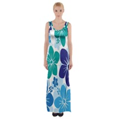 Hibiscus Flowers Green Blue White Hawaiian Maxi Thigh Split Dress