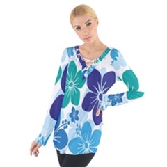 Hibiscus Flowers Green Blue White Hawaiian Women s Tie Up Tee