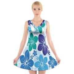 Hibiscus Flowers Green Blue White Hawaiian V-Neck Sleeveless Skater Dress