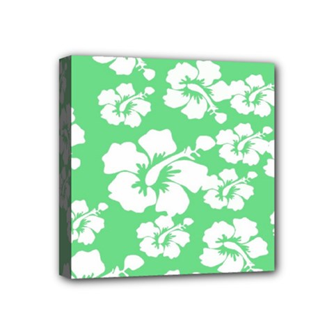 Hibiscus Flowers Green White Hawaiian Mini Canvas 4  x 4