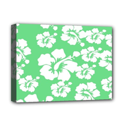 Hibiscus Flowers Green White Hawaiian Deluxe Canvas 16  x 12