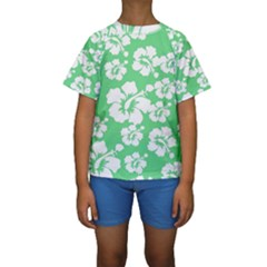 Hibiscus Flowers Green White Hawaiian Kids  Short Sleeve Swimwear