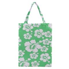 Hibiscus Flowers Green White Hawaiian Classic Tote Bag