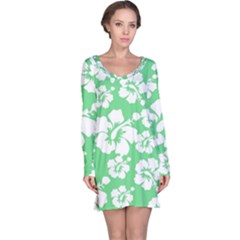 Hibiscus Flowers Green White Hawaiian Long Sleeve Nightdress